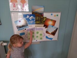 dziewczynka stoi przy tablicy