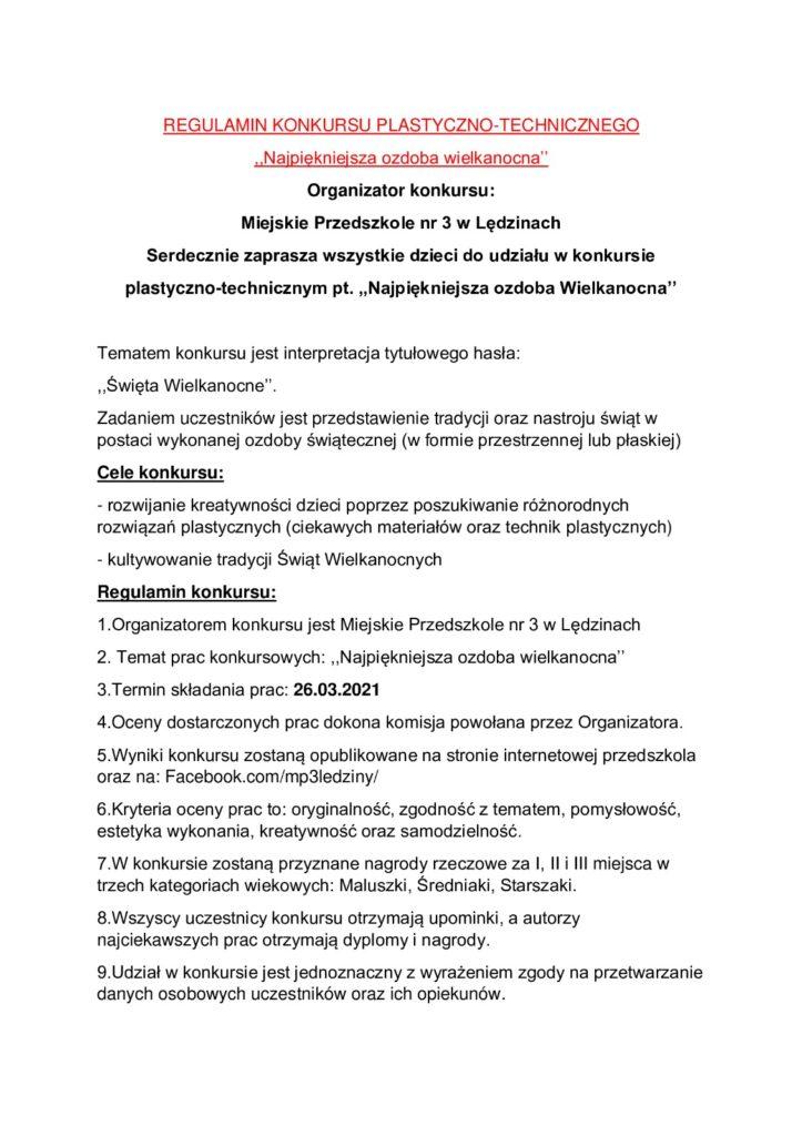 grafika regulamin konkursu wielknocnego
