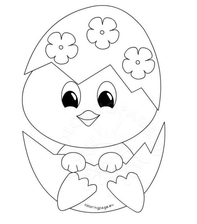 grafika kolorowanka wielkanocny kurczak