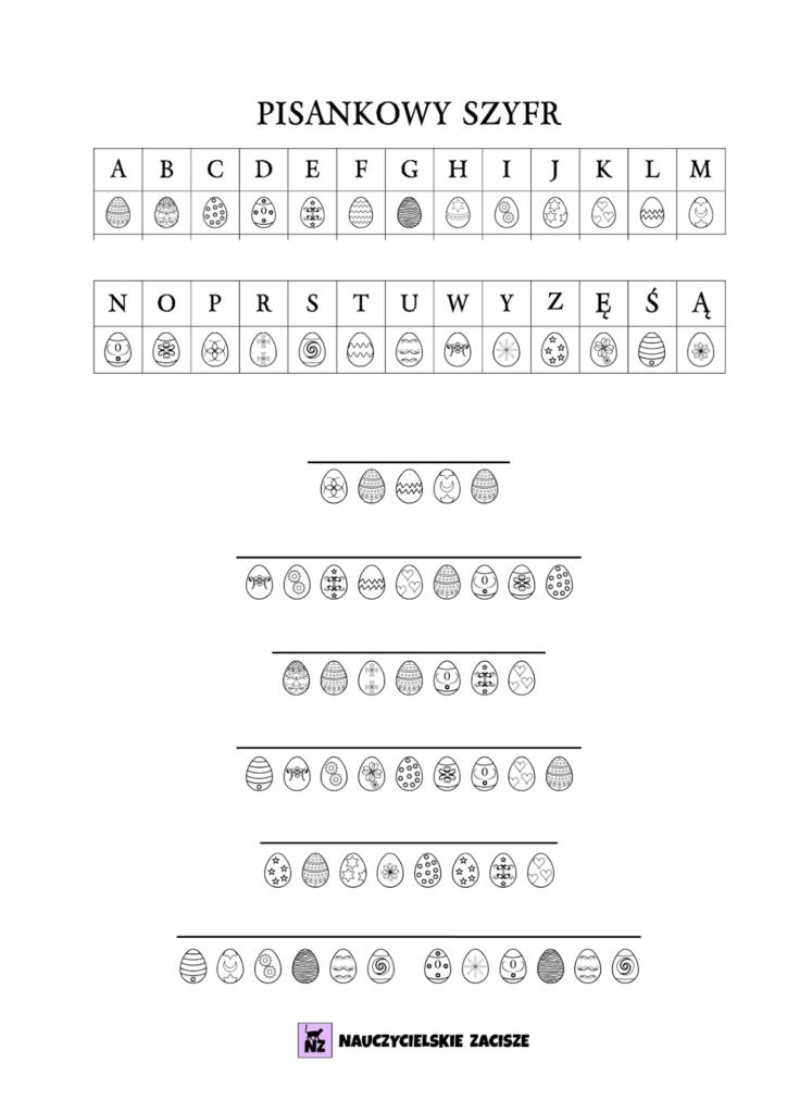 grafika karta pracy pisankowy szyfr