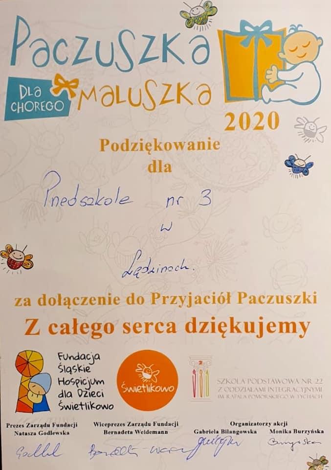 grafika podziękowanie za udział w akcji Paczuszka dla Maluszka