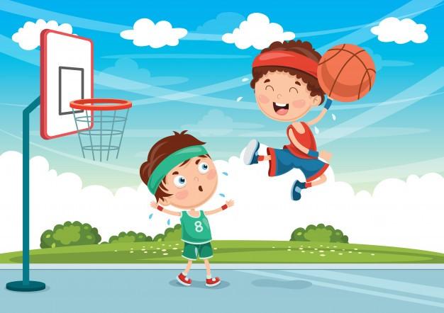 grafik dzieci grające w koszykówkę