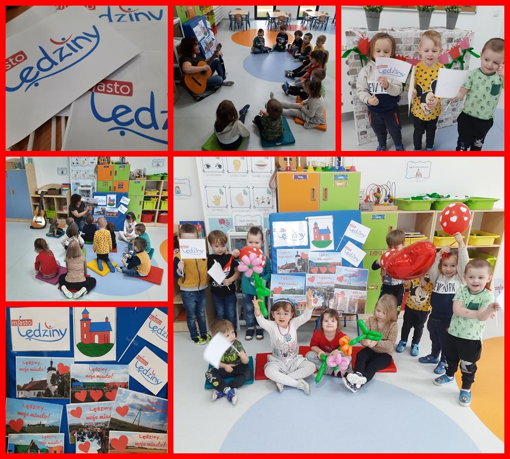 kolaż zdjęć dzieci podczas zajęć o Lędzinach