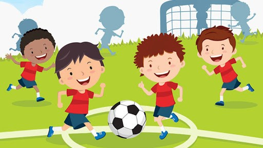 grafika dzieci grające w piłkę