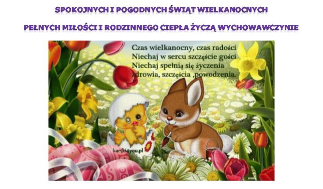 kartka wielkanocna dla grupy Wiewiórki