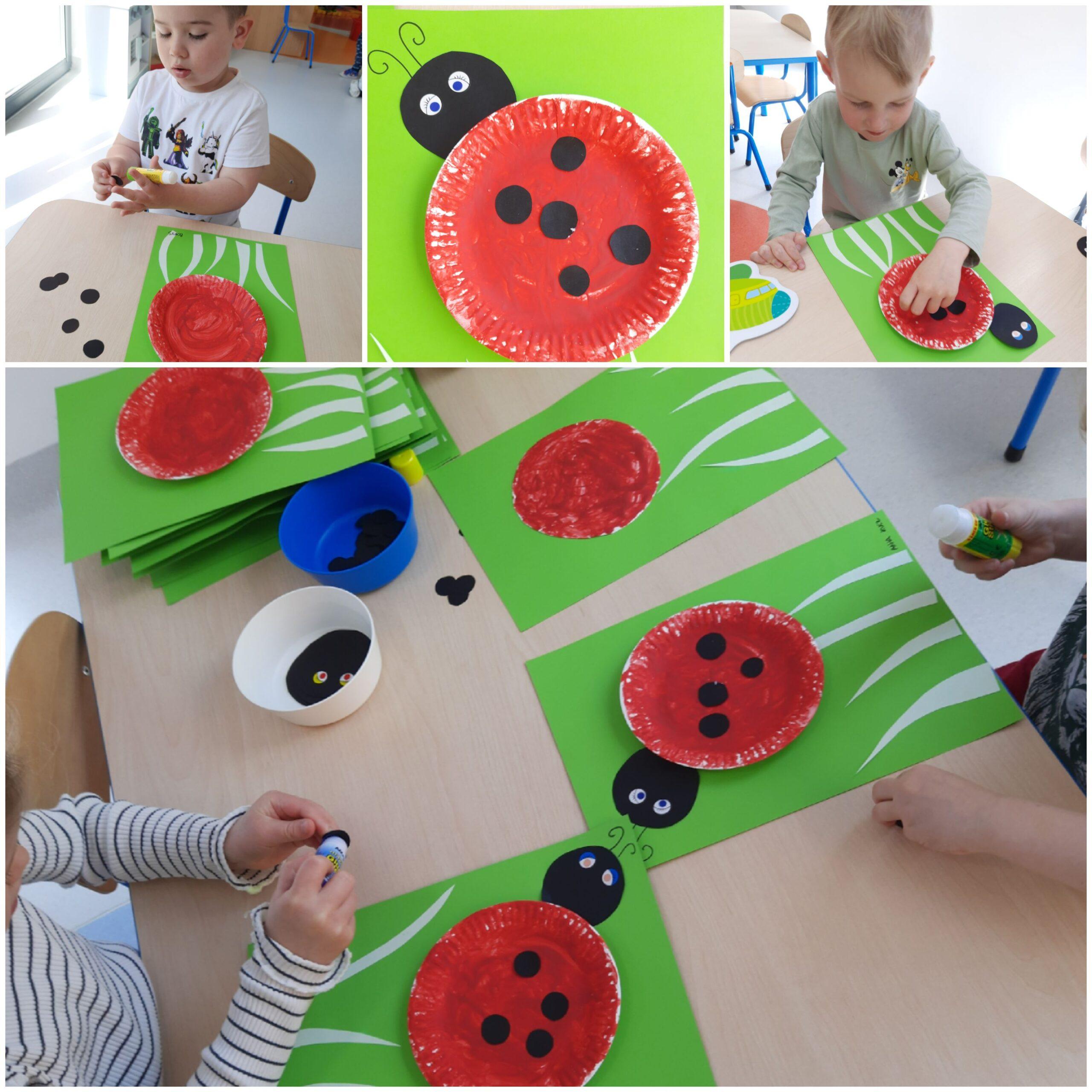 kolaż zdjęć dzieci podczas robienia pracy plastycznej