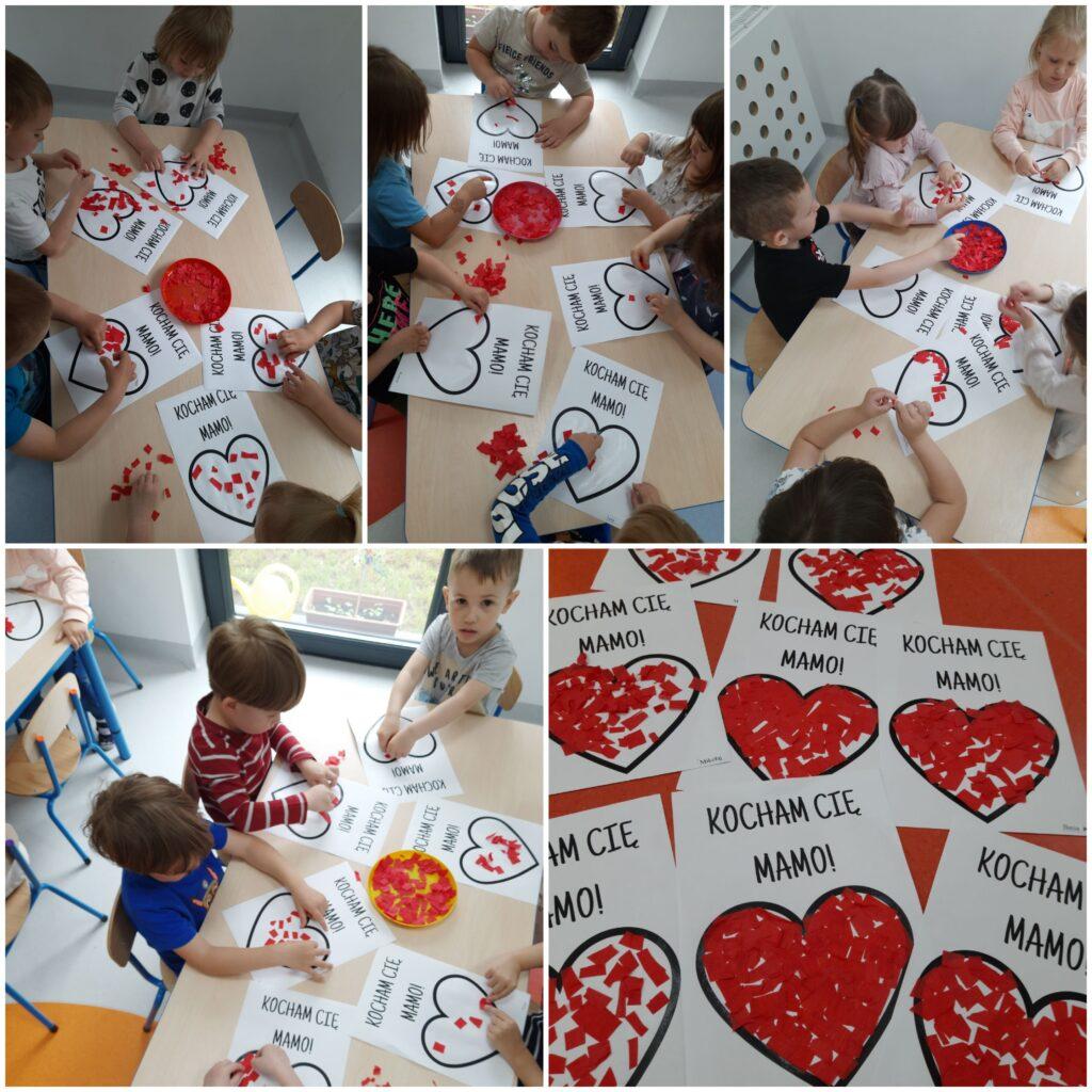 kolaż zdjęc dzieci podczas robienia pracy plastycznej