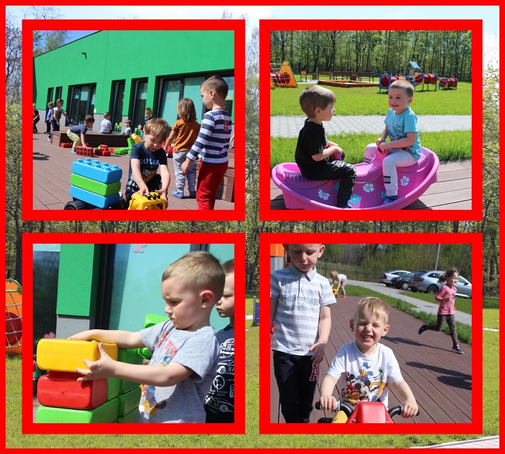 kolaż zdjęć dzieci podczas zabaw na tarasie