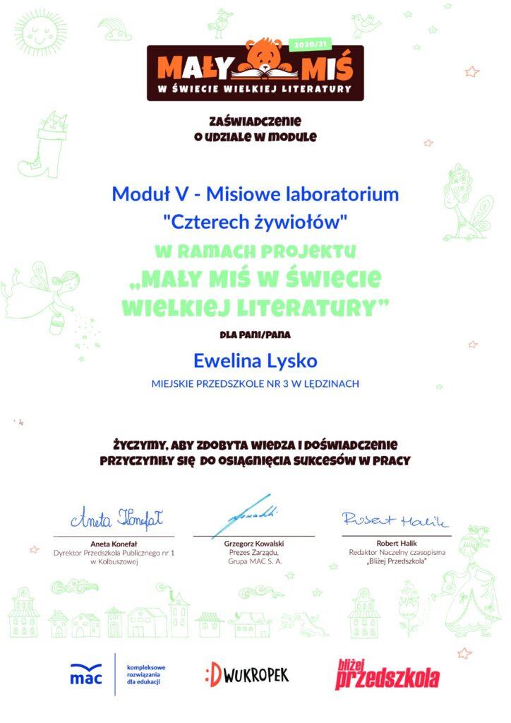 certyfikat projektu