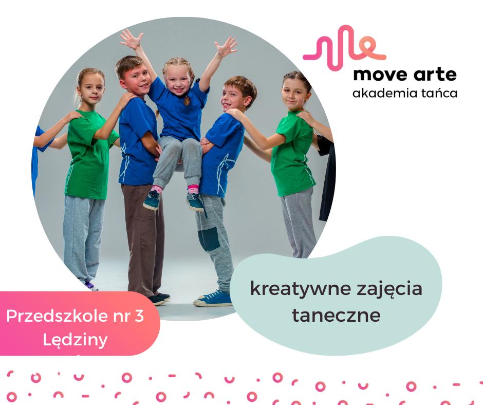 obrazek reklamujący zajęcia taneczne- dzieci tańczące